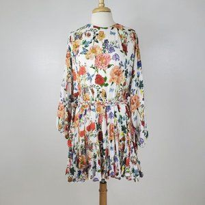 Olivaceous Floral Balloon Sleeve Mini Dress